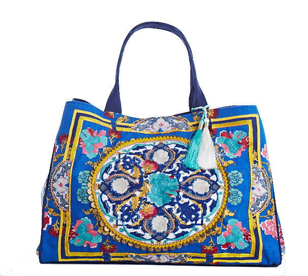 Boho Beach Bag Tote Royal Blue