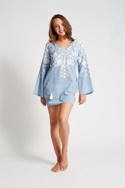 Elena Tunic (Denim/White)
