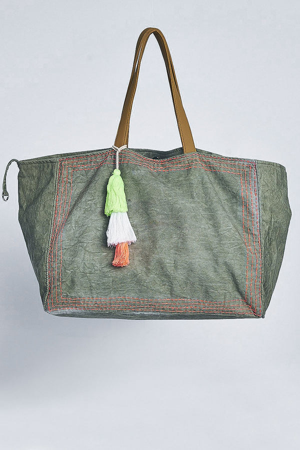 Canvas Bag Jade With Tassels
