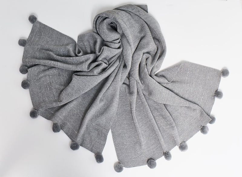 Cotton Knit Shawl Grey