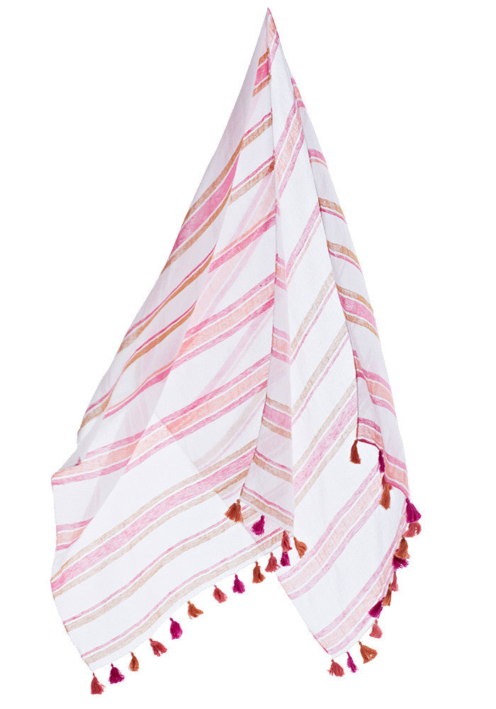 Debbie Katz Striped Doby Pareo (White/Orange/Pink)