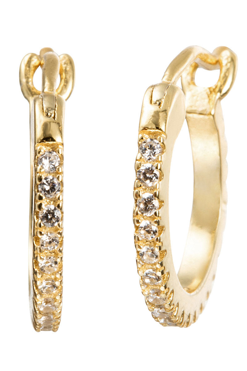 Florence Cubic Zirconia Huggie Earrings Gold