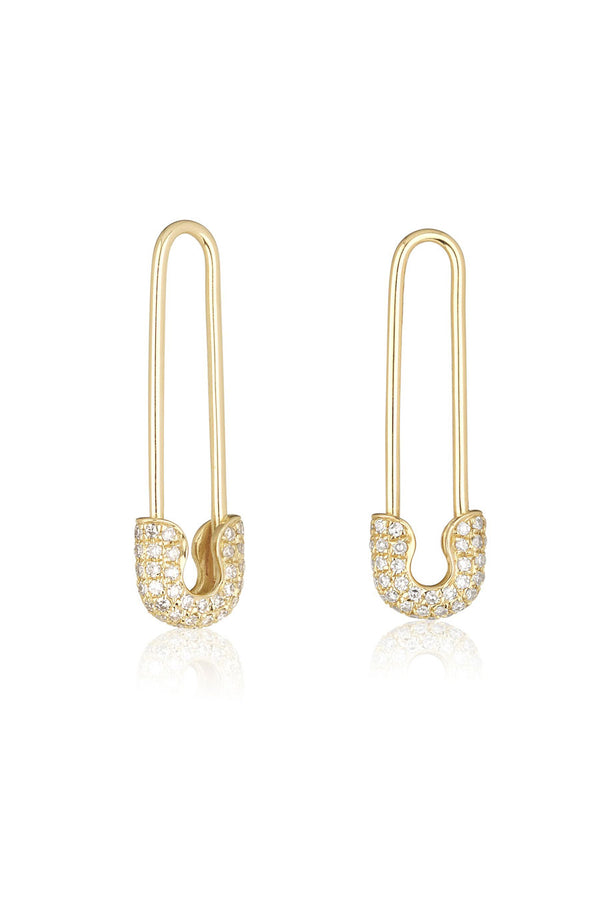 Safety Pin Zirconia Earrings Gold
