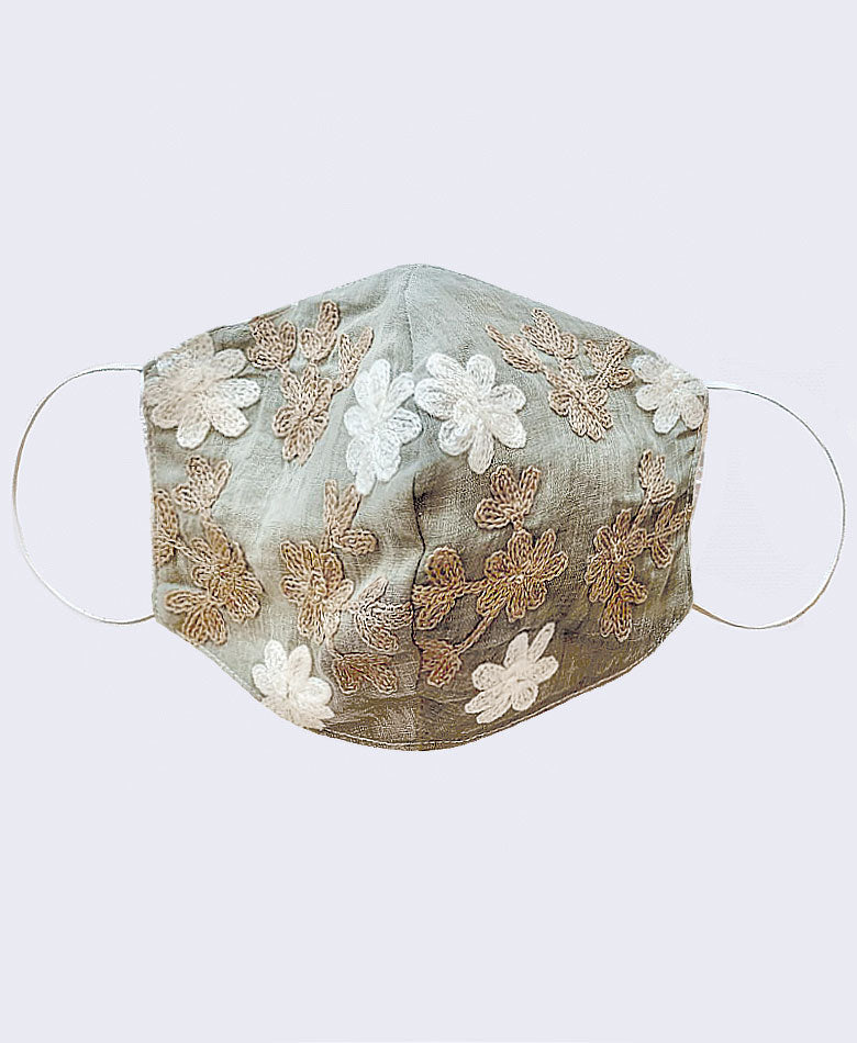 face mask boho fabric embroidered taupe fast delivery