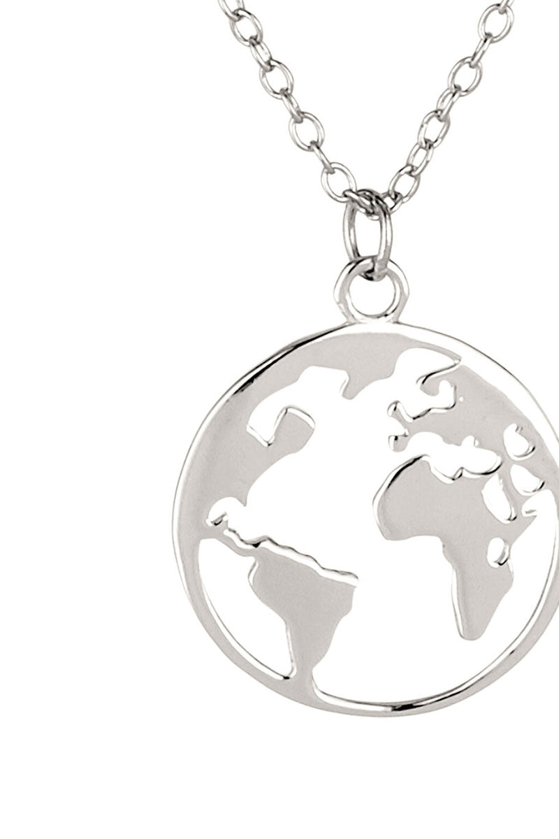 globe earth world map necklace boho 295 silver fine jewelry non toxic anti allergic