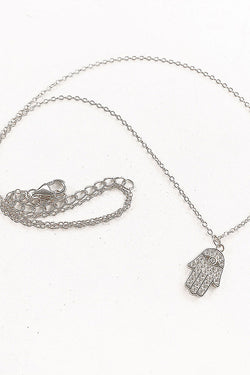 Hamsa Spirit Charm Necklace Silver