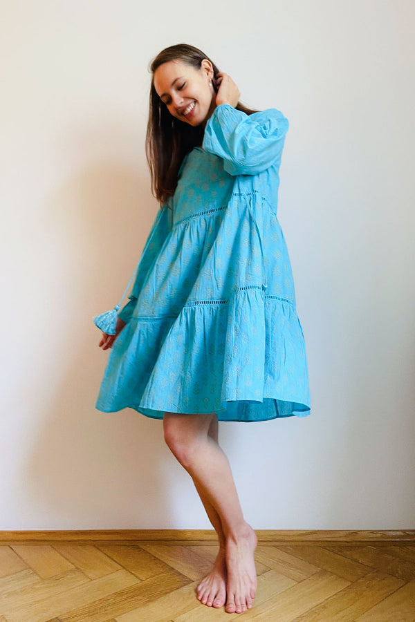 Sia Tiered Tunic Turquoise