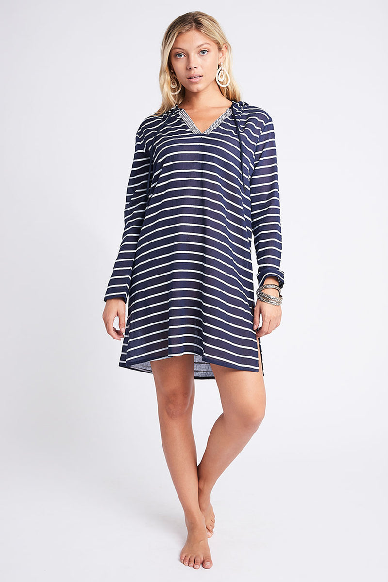Nikki Hooded Tunic Navy