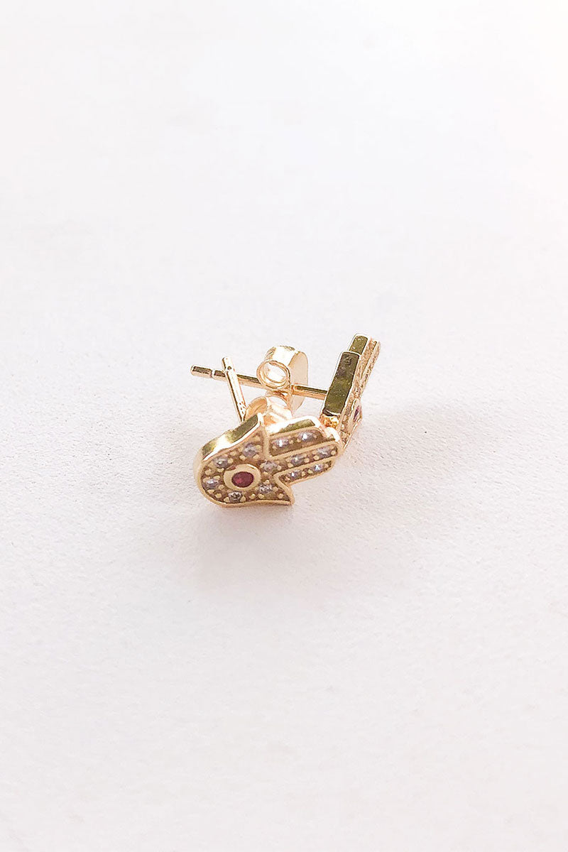 Hamsa Spirit Zicronia Stud Earrings Gold