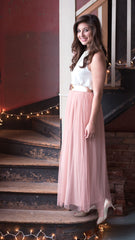 long tulle skirt in blush
