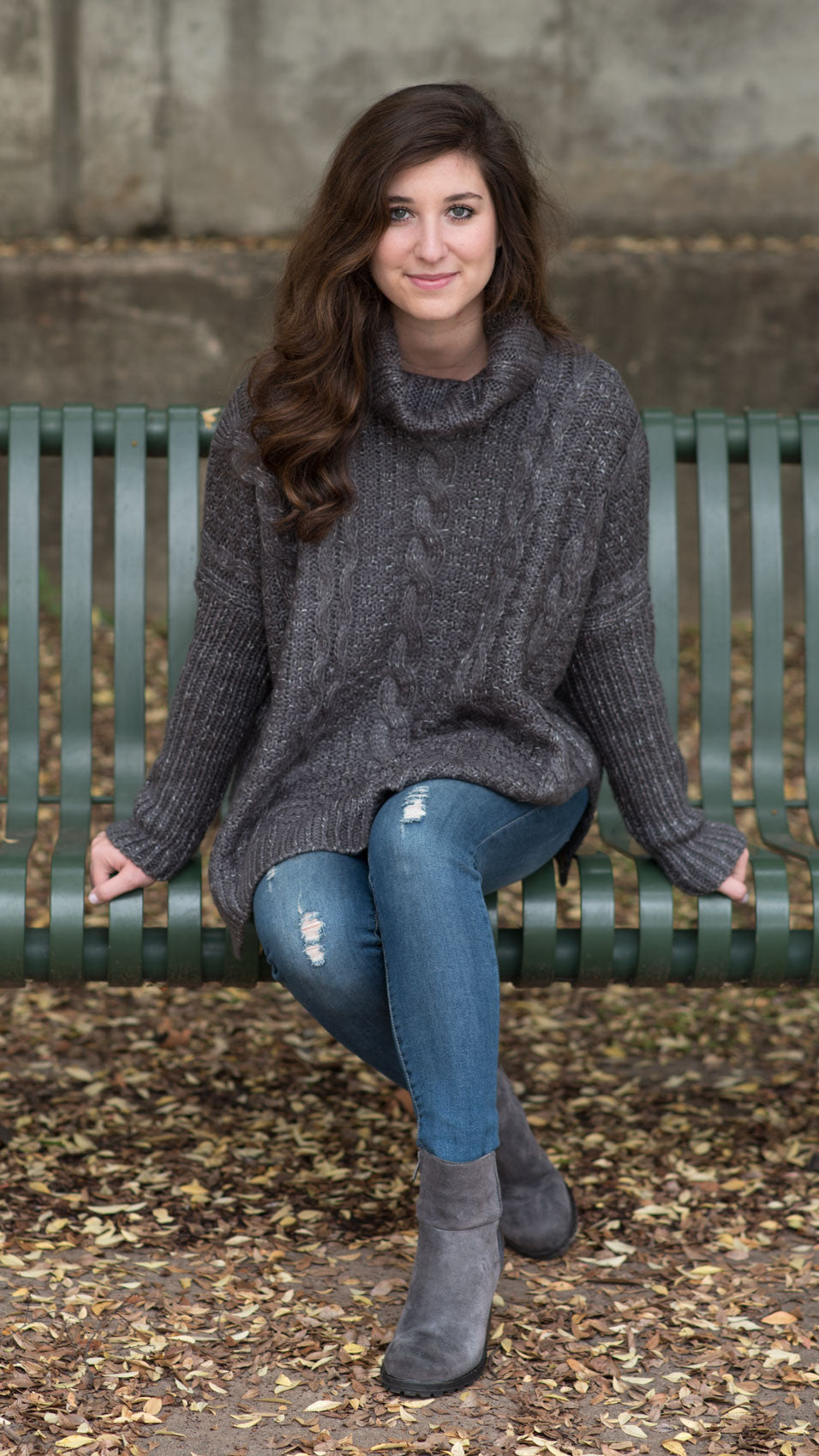 gray sweater with cowl neck