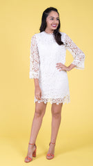 white lace dress high neck dress, fully lined, with 3/4 bell sleeves