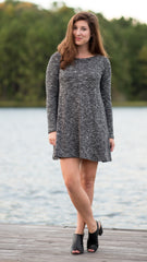 swing dress in dark gray with long sleeves