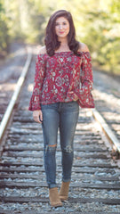 off the shoulder, flowy top with bell sleeves in a beautiful fall floral pattern