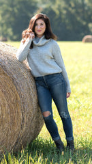 heather grey cowl neck cropped sweater