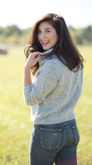 heather grey cowl neck cropped sweater - back view
