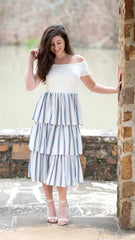 Beautiful dress with white off the shoulder top and layered blue and white striped skirt