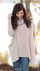 light brown poncho, soft and cozy