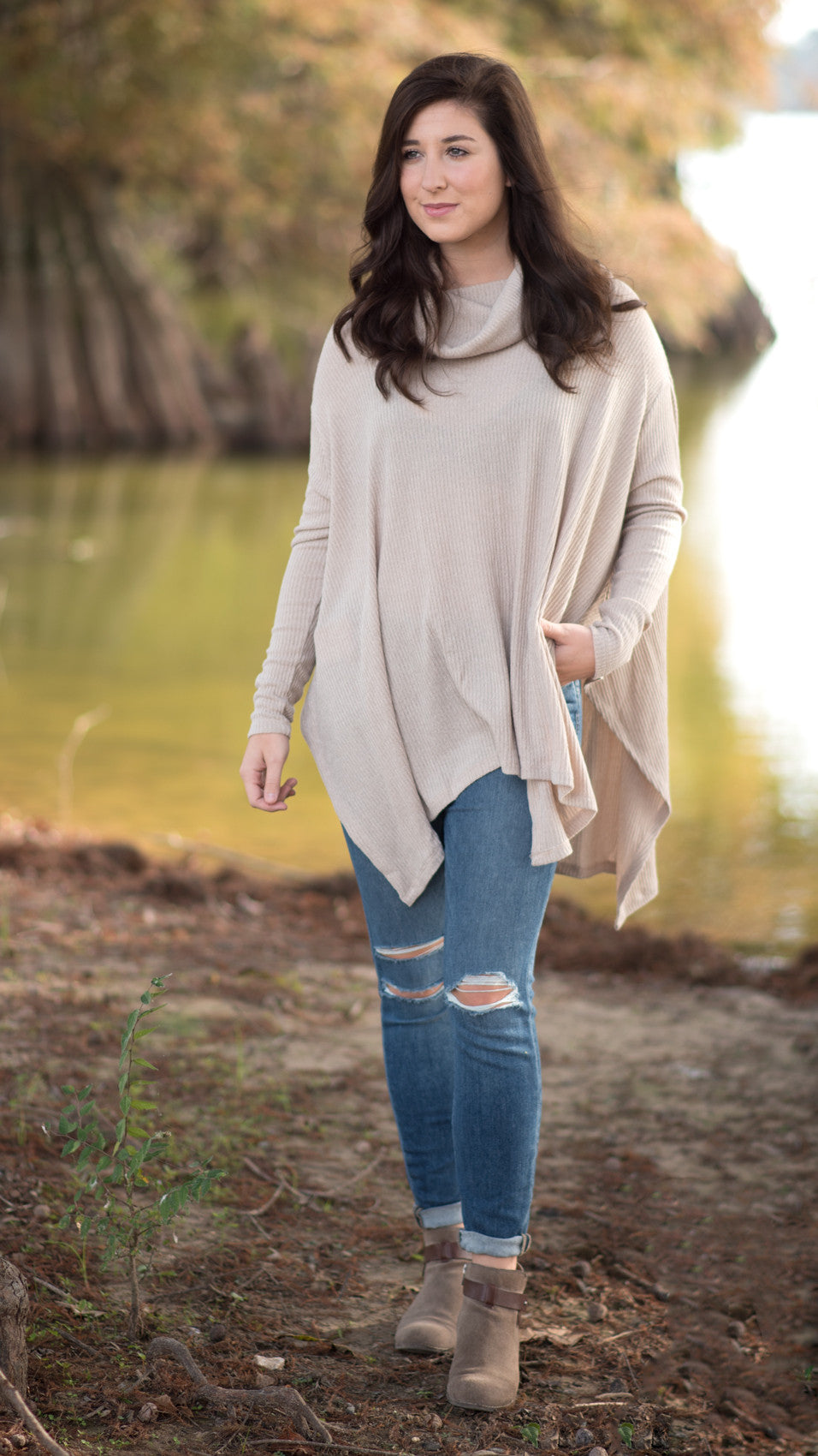 light brown poncho, soft and cozy with cowl neck