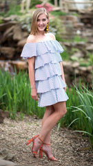 off the shoulder blue and white striped dress with layers of ruffles