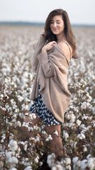 light brown cardigan with drop shoulders, cozy and easy to wear
