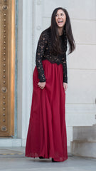 Beautiful long red tulle maxi skirt