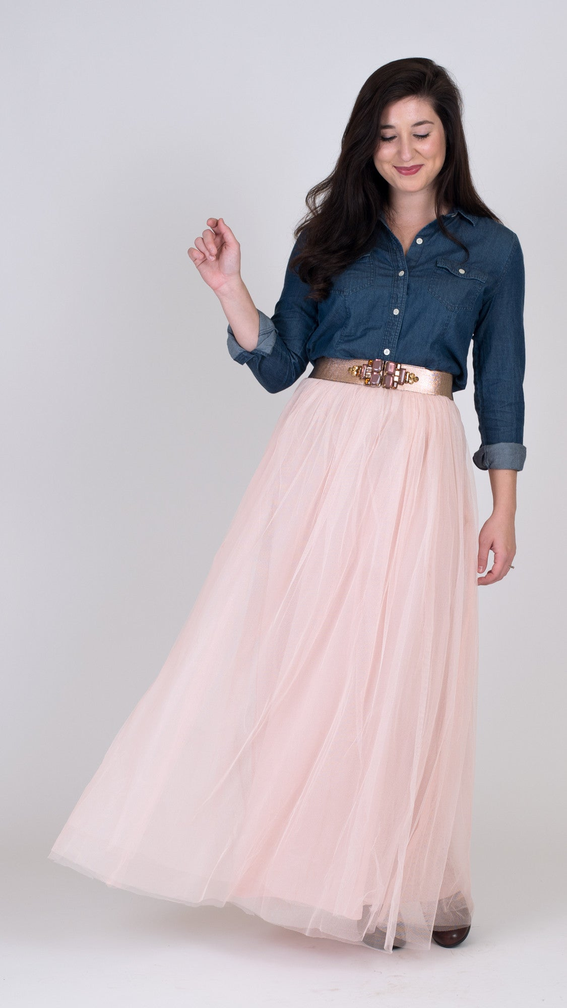 pink tulle maxi skirt paired with chambray top