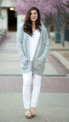Cozy blue/grey cardigan with front pockets