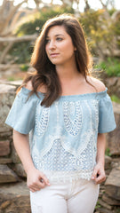 chambray blue crop top with lace