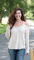 beige cold shoulder top in a waffle knit