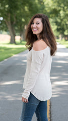 lightweight beige cold shoulder top in waffle knit fabric