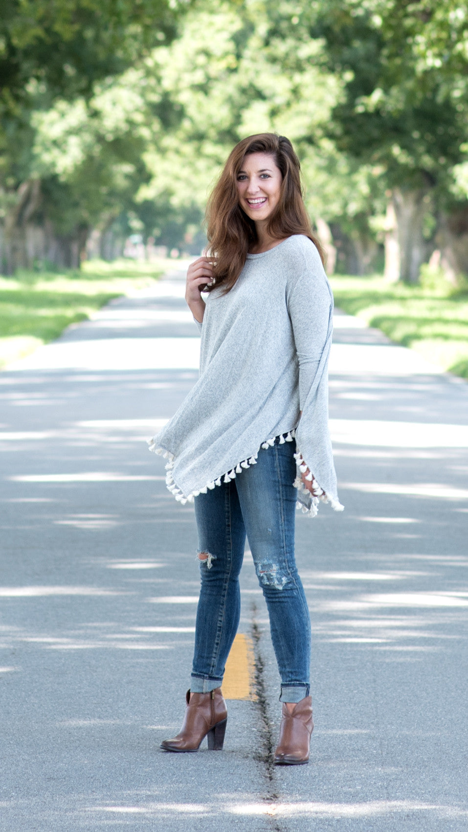 heather grey swing top with tassels