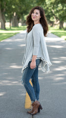 heather grey swing top with tassels at hemline