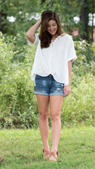 white lace-up front short sleeve shirt