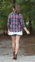 back view of red and blue plaid shirt with fringe on hem