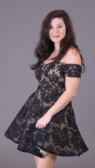 black lace off the shoulder fit and flare dress with nude lining. Perfect for a special occasion. A great little black dress.