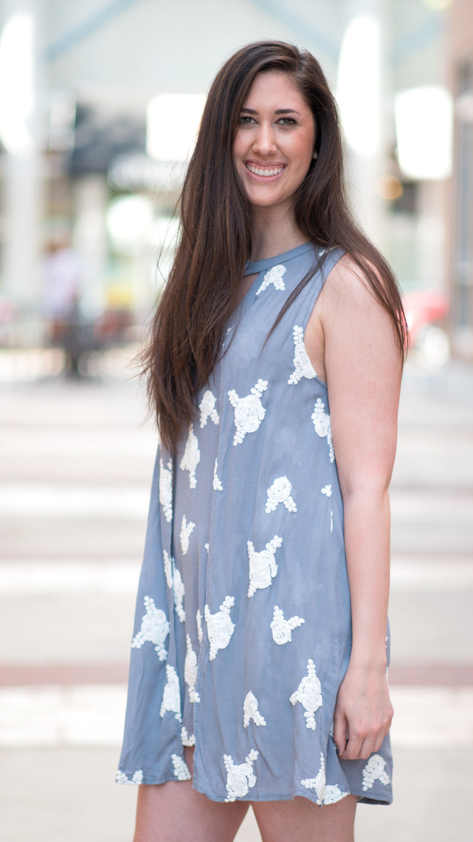 blue-gray and white embroidered dress