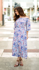 pretty paisley midi dress in blue and cream and coral