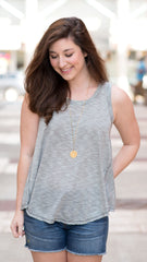 striped tank swing top, gray and white