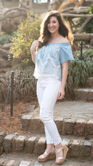 light blue off the shoulder crop top with lace