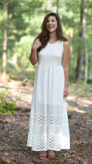 white maxi dress with lace details