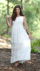 white maxi dress with pretty lace details