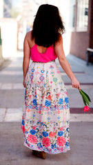 brightly patterned maxi skirt - back view