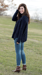 navy blue cable neck sweater