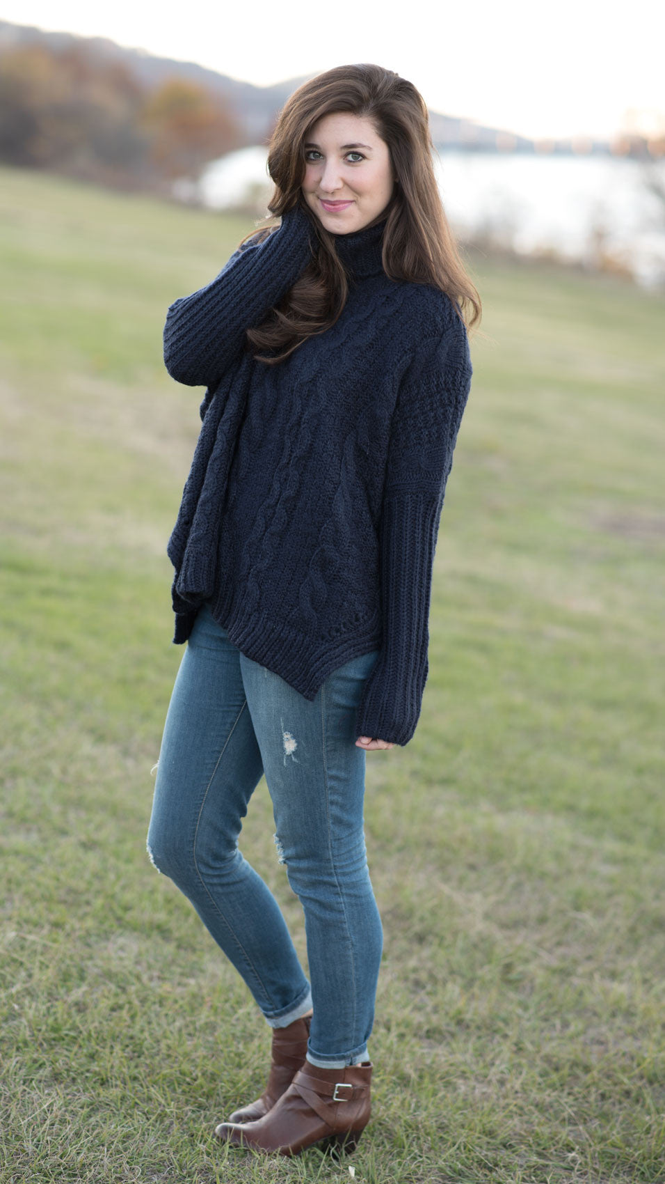 navy blue cowl neck sweater