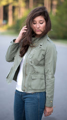 olive army jacket distressed