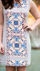 peach and blue dress, pattern detail