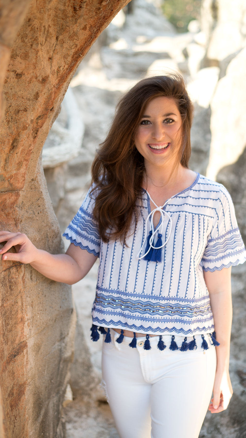 tassel top in blue and white