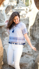 tassel top in blue and white with sequins