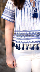 tassel top in blue and white - detail view